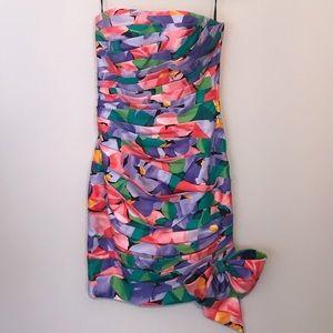 A.J Bari petite strapless colorful cocktail dress